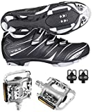 Venzo Mountain Bike Bicycle Cycling Shimano SPD Shoes + Multi-Use Pedals 46