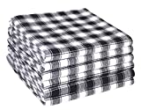 Cotton Clinic Gingham Buffalo Check 18x28 Kitchen Dish Tea Towels Black White
