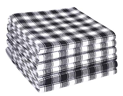 (Cotton Clinic 100% Cotton Gingham Buffalo Check Kitchen Dish Towels 6 Pack Extra Large 18x28 Dish Cloths, Bar Towels, Tea Towels and Cleaning Towels, Kitchen Towels with Hanging Loop, Black White)