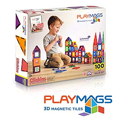 Playmags 3D Magnetic Blocks for Kids Set of 100 Blocks to Learn Shapes, Colors, & Alphabet STEM Magnetic Toys Develop Motor Skills&Creativity-Colorful, Durable Magnet Building Tiles & Idea Book: Toys & Games