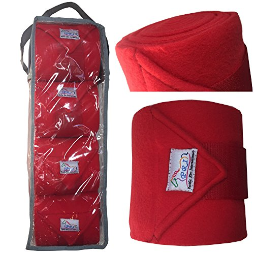 PRI Horse Leg Protection Set of Four Fleece Polo Wraps, Red, Horse Size