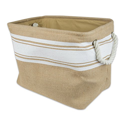 12 Inch White Handle (DII Collapsible Burlap Storage Basket or Bin with Durable Cotton Handles, Home Organizational Solution for Office, Bedroom, Closet, Toys, & Laundry (Medium - 16x10x12