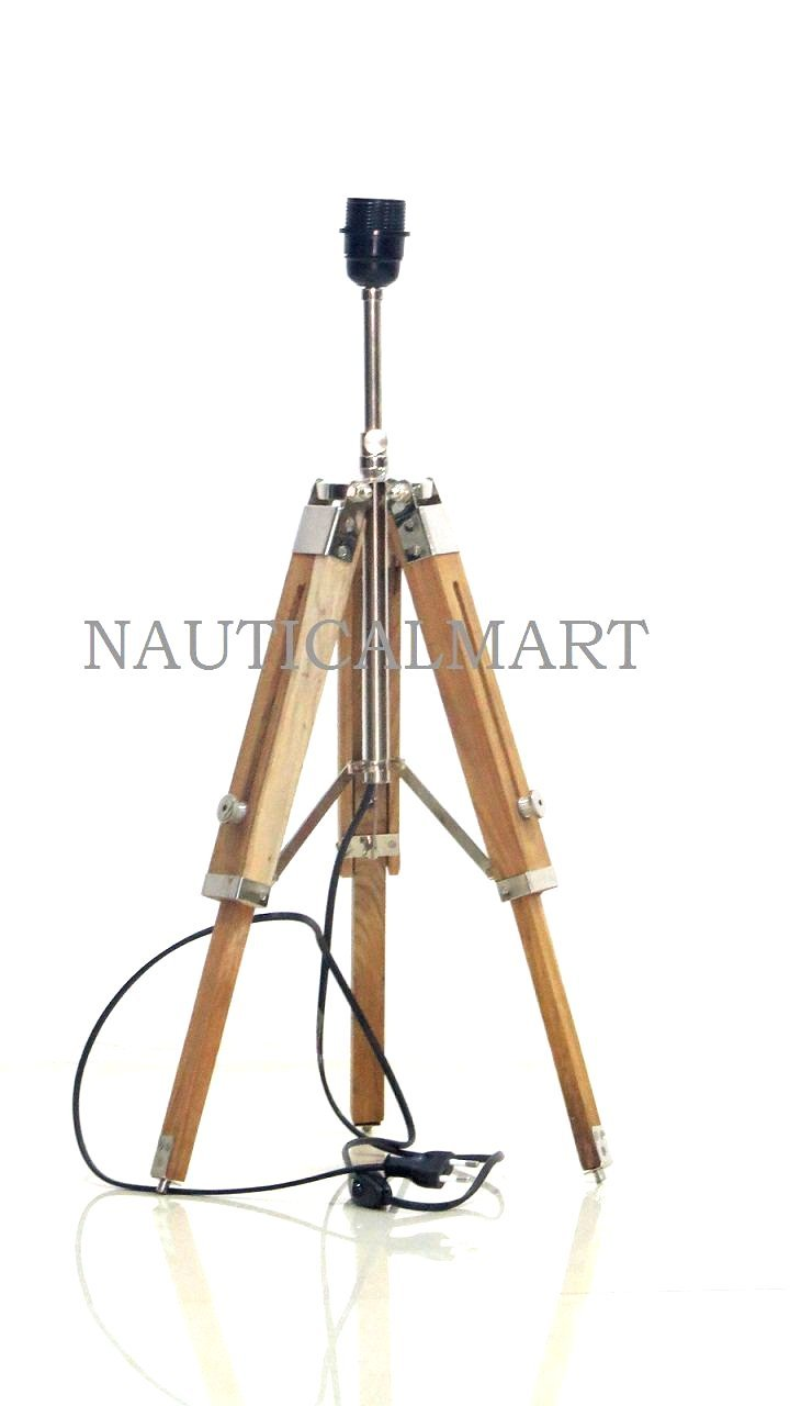 NauticalMart Natural Wooden Tripod Table Lamp Stand