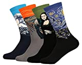 Women's Funny Famous Painting Art Pattern Casual Cotton Crew Socks (4 Pairs)