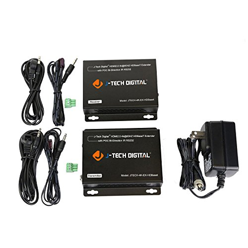 J-Tech Digital HDBaseT HDMI Extender 4K Ultra HD Extender for HDMI 2.0 over Single Cable CAT5e/6A up to 230ft (1080P) 130ft(4K) Supports HDCP 2.2 / 1.4, RS232, Bi-directional IR and PoE by J-Tech Digital (Image #5)