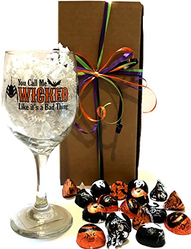 Halloween Halloween Wine Glass - Halloween Beer Glass - WITH Halloween Treats - Halloween Gift For Adults! (Wine - Wicked (Halloween Valentine Cards)