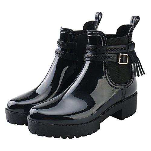 Image of Alexis Leroy Women Buckle Strap Tassel Elastic Panel Heeled Short Ankle Rain Boots Black 40 M EU / 9-9.5 B(M) US
