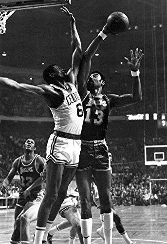 Wilt chamberlain vs bill russell poster lakers celtics basketball hoops nba