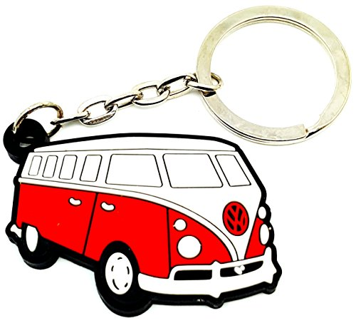 VW Volkswagen Beetle Van Bus Car Emblem Logo Sign Keyring Keychian Key Ring Chain Rubber Silicone by BEST EXPO (red) (Vw Camper Toaster compare prices)