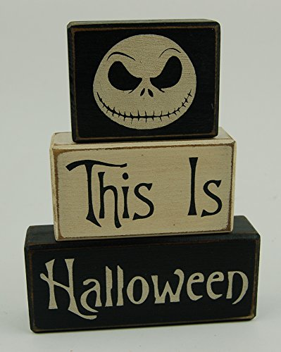 NEW! This is Halloween - Jack Skellington - Nightmare Before Christmas - Primitive Wood Sign Shelf Sitting Blocks-Holiday, Seasonal, Halloween, Fall, Home Decor