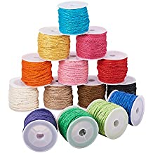 Pandahall 14-Color 2mm Jute Twine String Rope Hemp Rope Jute Cord Total 140 Yards for DIY and Crafts, Gift Wrapping