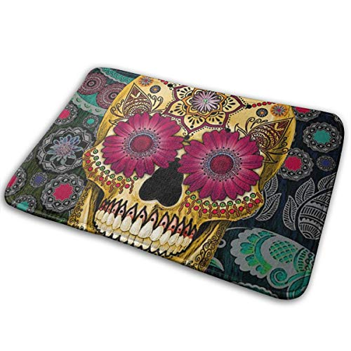 Dead Sugar Skull Wallpaper Printed Differentiaten Area Rugs Carpet Non Slip Bath Mat Absorbent Super Cozy Bathroom Mat Rug Pad(15