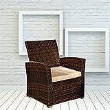 Leaptime Patio Outdoor Brown Rattan Bistro Single Sofa Set Garden Wicker Furniture Beige Cushion (1pc)