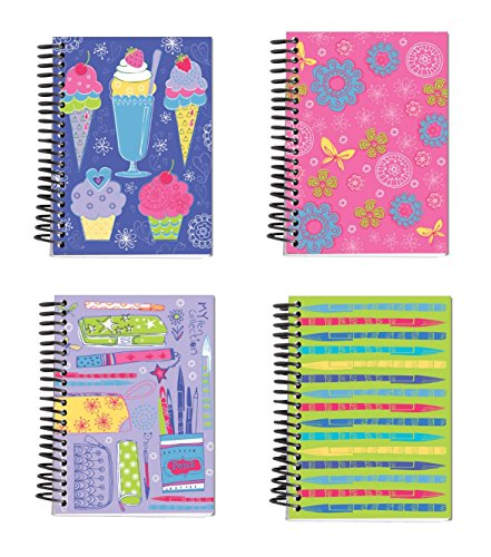 Spiral Bound Thick Notebook Set (4 Notepads Total) 5.5 x 4 - 160 Lined Pages Per Book - Stationery 4 Awesome Designs Featuring Frosted Covers