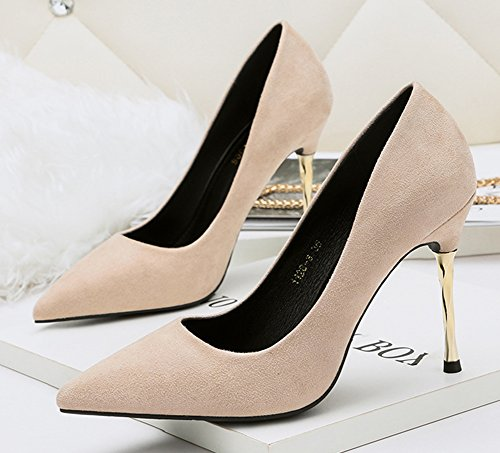 Aisun Womens Fashion Wear To Work Office Dressy Low Cut Stiletto High Heel Pointy Toe Slip On Pumps Shoes Apricot vofHFLsgt