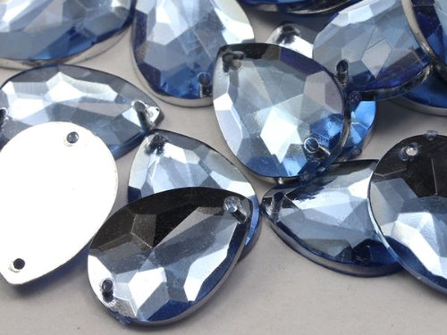 18x13mm Sapphire - Lt. CH02 Teardrop Flat Back Sew On Beads for Crafts - 50 Pieces