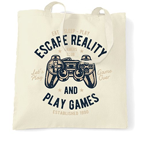 Price comparison product image Gamer Tote Bag Escape Reality And Play Games Gaming Distressed Design