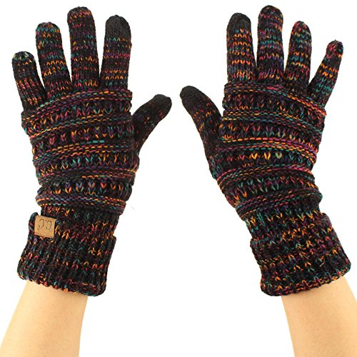 Winter CC Quad Touch Screen Smart Cellphone Finger Tips Warm Soft Gloves Black Multi