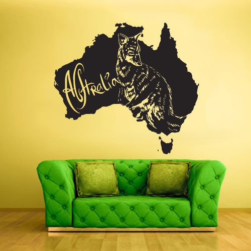 Wall Vinyl Sticker Decals Decor Australia Animal Map Kangaroo - Ski Sky Australia