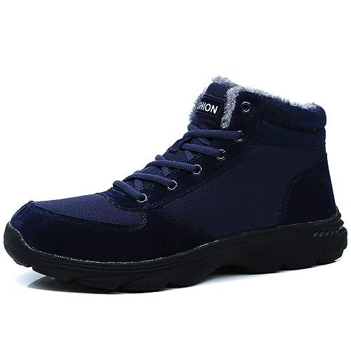 BIGU Botas de Nieve Hombre Botines Invierno Plano Botines Calentar Zapatos Anti-Deslizante Deportes Al Aire Libre Boots Marrón Azul Negro: Amazon.es: ...