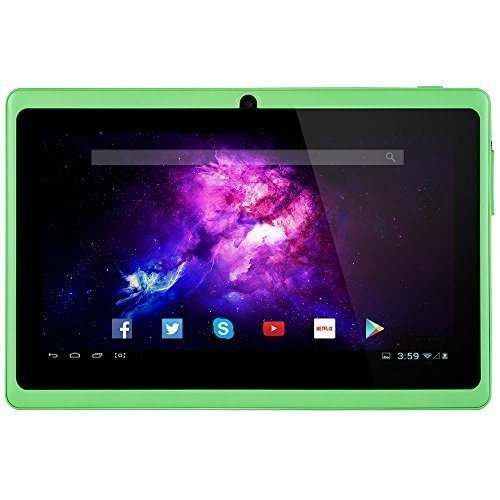 Alldaymall 7'' Tablet Android 4.4 Quad Core HD 1024x600, Dual Camera Bluetooth Wi-Fi, 8GB 3D Game Supported - Green (Third Generation)