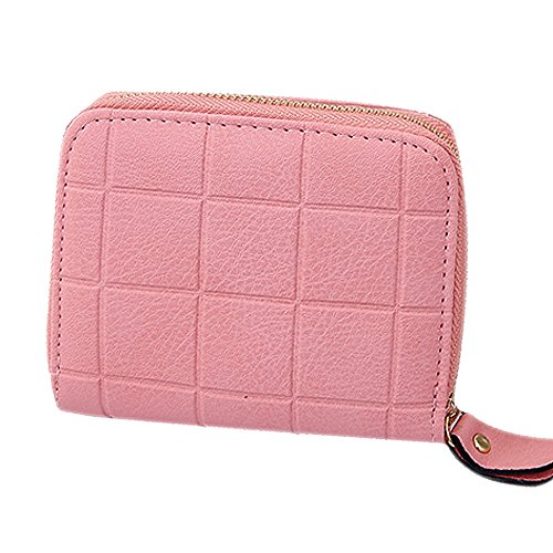 Clearance Sale! ZOMUSA Women's Small Mini Wallet Card Holder Nubuck Chess Zipper Coin Purse - Sale Toryburch