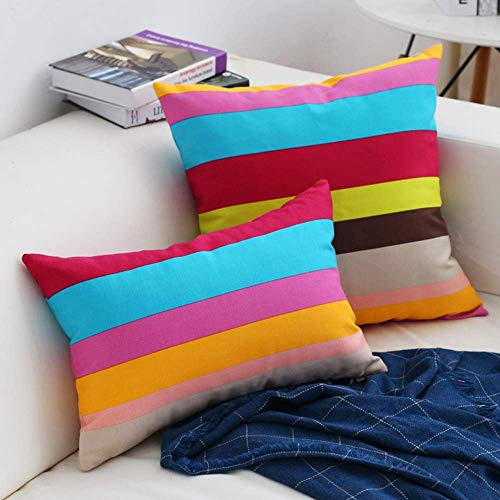 Ihpbaont Decorative Cotton Stripe 12 x 18 Inch Oblong Cushion Cover Rectangle Euro Colorful Throw Pillow Case for Sofa/Bench/Couch