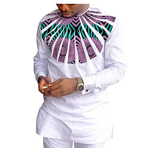 African Ankara Print Men Set Full Sleeve Top with Appliques and Full Length Pants 100% Batik Cotton Made AA1816010 213X S