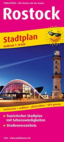 Rostock: Touristischer Stadtplan mit Sehenswürdigkeiten und Straßenverzeichnis. 1:16000 (Stadtplan / SP) Landkarte – Folded Map, 1. Juli 2017 PUBLICPRESS 396132252X Mecklenburg-Vorpommern Ostseeküste und -inseln