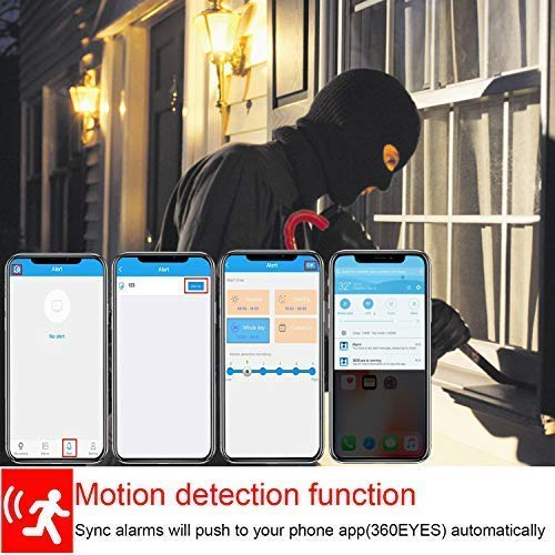 Light Bulb Camera Wifi 1080P HD 360 Fisheye Wireless Security Camera Home LED Light Cameras Motion Detection Night Vision