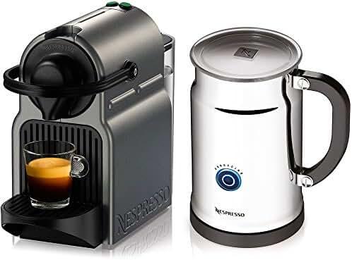 Nespresso A+C40-US-TI-NE Inissia Espresso Maker with Aeroccino Plus Milk Frother, Titan