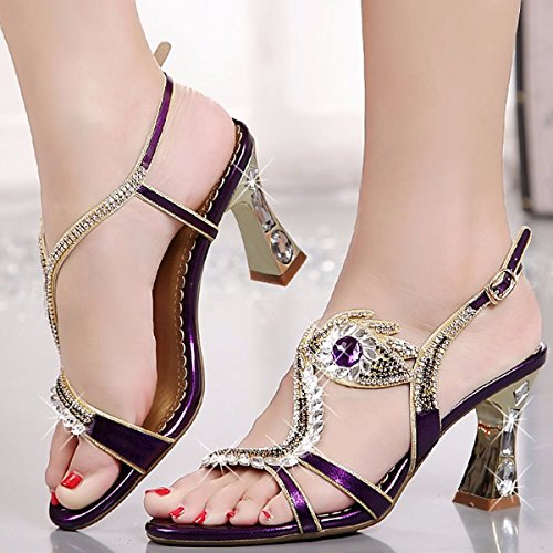 AJUNR Moda/Elegante/Transpirable/Sandalias Tacones Gruesos Tacones Perforación de Agua Diamantes y los Dedos de los pies 37