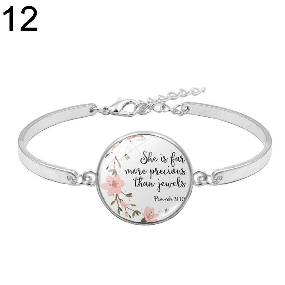 Angel3292 Fashion Women Bible Verses Psalm Glass Pendant Open Bracelet Bangle Jewelry Gift