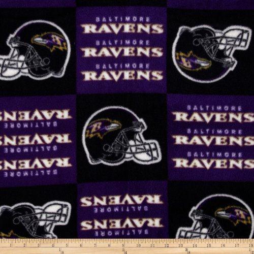 Fabric Traditions NFL Fleece Baltimore Ravens Squares Fabric by the Yard, Black/Purple