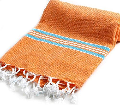 Cacala Pestemal Turkish Bath Towels Striped for Beach Sauna Luxury Peshtemal 37x70 Orange-Turquoise
