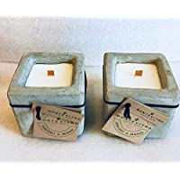 2 Velas en Cubo de Concreto, cera de soya, pabilo de madera, de Monte Vitro