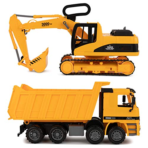 Toy To Enjoy Excavator & Dump Truck Toy for Kids (Set of 2) - Moveable Claw & Lifting Back - Garbage Truck & Bulldozer Digger - Construction Vehicle for Kids & Children