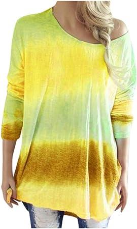 cureture - Camiseta de Manga Larga para Mujer, Estilo Hippie, Color Amarillo, tamaño S: Amazon.es: Hogar