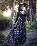 Stars & Moons Black Dark Witch Goth Maxi Skirt