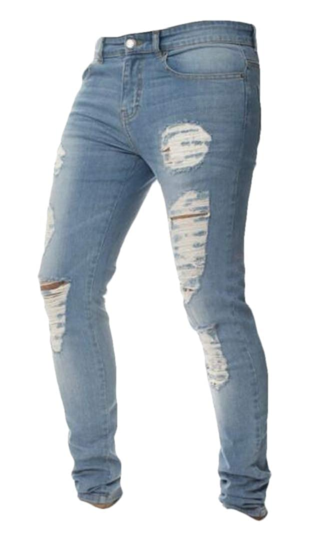 Jotebriyo Mens Pencil Skinny Stylish Distressed Slimming Denim Pants