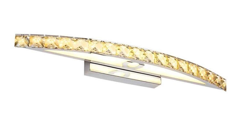 Eeayyygch Mode Einfach Bad Spiegel Frontleuchte Kristall Wandleuchte Heizung Wasserdicht Anti-Fog Edelstahl Spiegel Scheinwerfer 440mm [Energieklasse A +++]