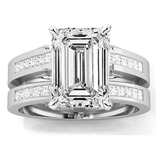 1.2 Cttw 14K White Gold Emerald Cut Channel Set Princess Cut Bridal Set Diamond Engagement Ring Wedding Band with a 0.5 Carat I-J Color VS1-VS2 Clarity (Diamond Emerald Jewelry Set)