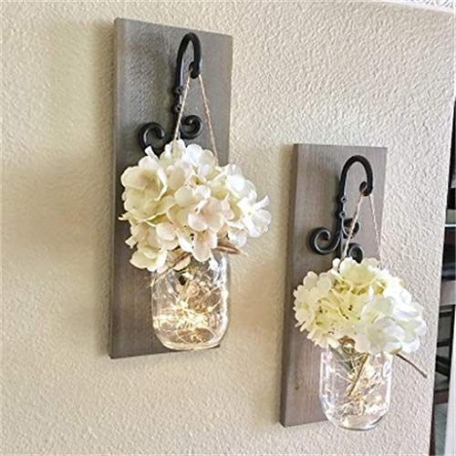 youeneom Mason Jar Sconces Home Décor -with Fairy LED String Lights & Flowers, Decorative Hanging Wall Scone for House Patio Garden Decoration Rustic Hydrangea Flower Scone Set of 2 (White)