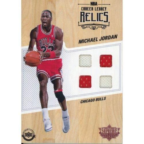 MICHAEL JORDAN Supreme Hard Court Game Used 4 Jersey Swatch NBA Relics UDA