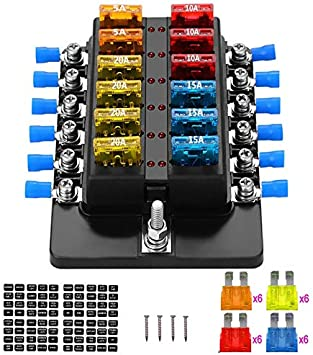 Amazon.com: Blade Fuse Block Box Holder 12 Way With LED Indicator for Blown  Fuse Suitable For Automotive Marine Boats Weiruixin (12way): AutomotiveAmazon.com