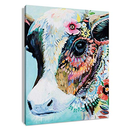 LIUDAO Paint by Number for Kids and Adults DIY Oil Painting Hand Painted on Canvas - Colourful Cow with Flowers (16x20 inch,Wooden Framed)