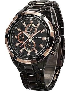 CURREN Stylish Quartz Movt Stainless Steel Watchband Mens Wrist Watch-8023Rosegold (Black)