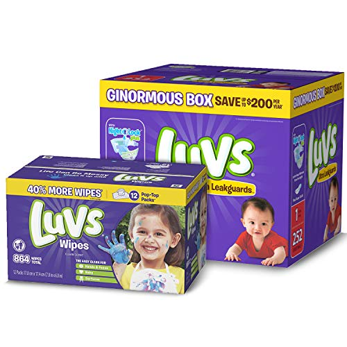 Diapers Size 1, 252 Count – Luvs Ultra Leakguards Disposable Diapers, ONE MONTH SUPPLY with Baby Wipes 12X Pop-Top Packs, 864 Count