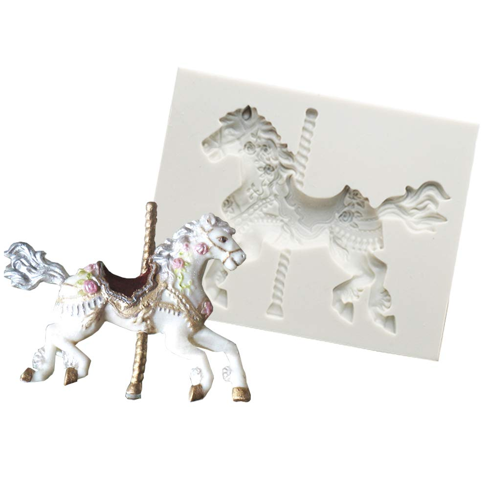 Carousel Horse Silicone Fondant Mould Sugar Paste Cake Cupcake Icing Mold Vivin 602716157971