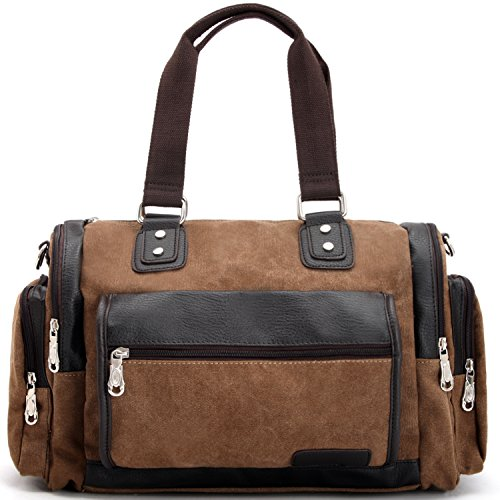 UPC 766150254730, Zebella Canvas Leather Tote Purse Travel Weekend Duffel Bag Gym Sports Luggage